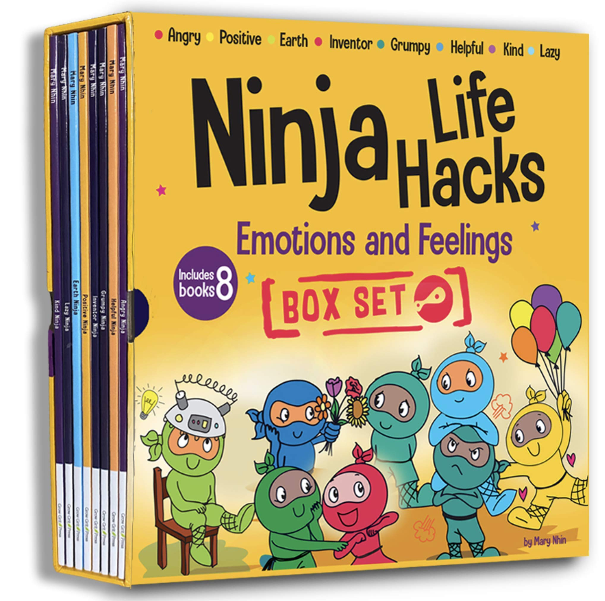 Ninja Life Hacks Emotions and Feelings 8 Book Box Set (Books 1-8: Angry, Inventor, Positive, Lazy, Helpful, Earth, Grumpy, Kind)