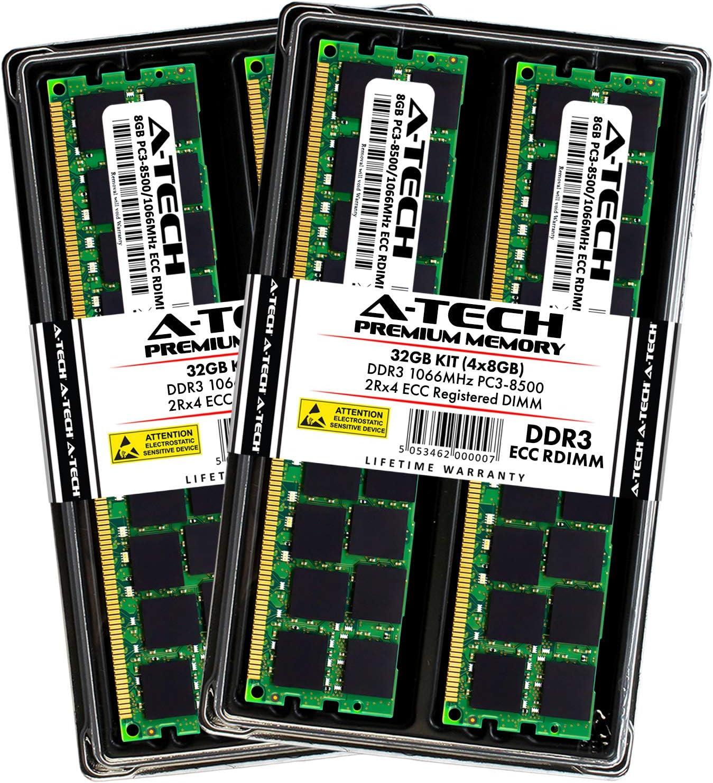 A-Tech 32GB Memory Kit for HP Workstation Z420 - (4X 8GB) DDR3 1066MHz PC3-8500 Dual Rank x4 ECC Registered DIMM RAM