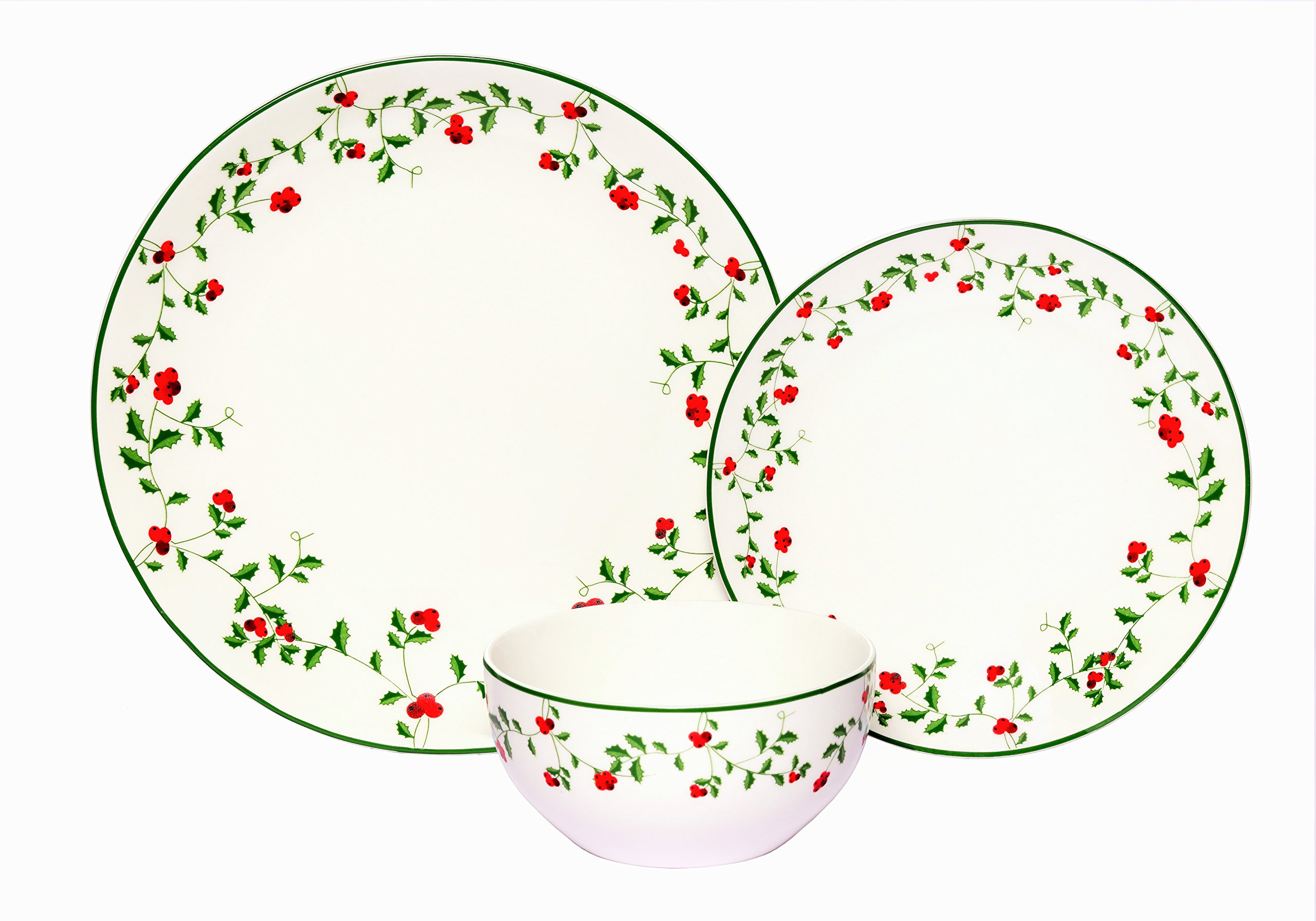 Melange Coupe 36-Piece Porcelain Dinnerware Set (Winterberry) | Service for 12 | Microwave, Dishwasher & Oven Safe | Dinner Plate, Salad Plate & Soup Bowl (12 Each) by Melange