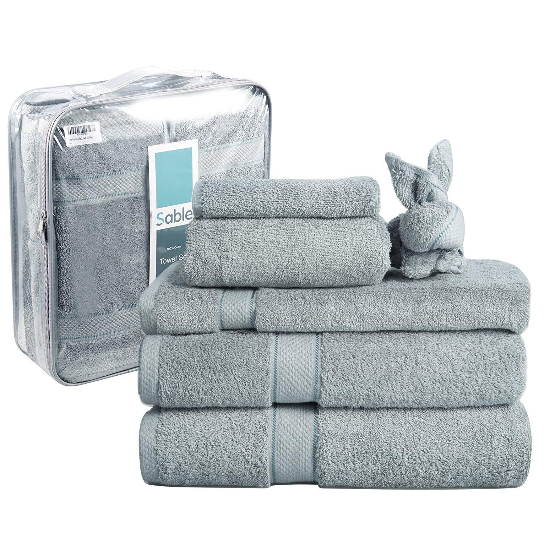 Sable Towel Set 6-Piece Hotel Quality 620 GSM Pakistani Cotton, Premium Craftsmanship, Super Soft and Highly Absorbent, 2 Bath Towels, 2 Hand Towels, 2 Washcloths