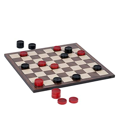 WE Games Old School Red and Black Wooden Checkers Set -12 in.: Toys & Games