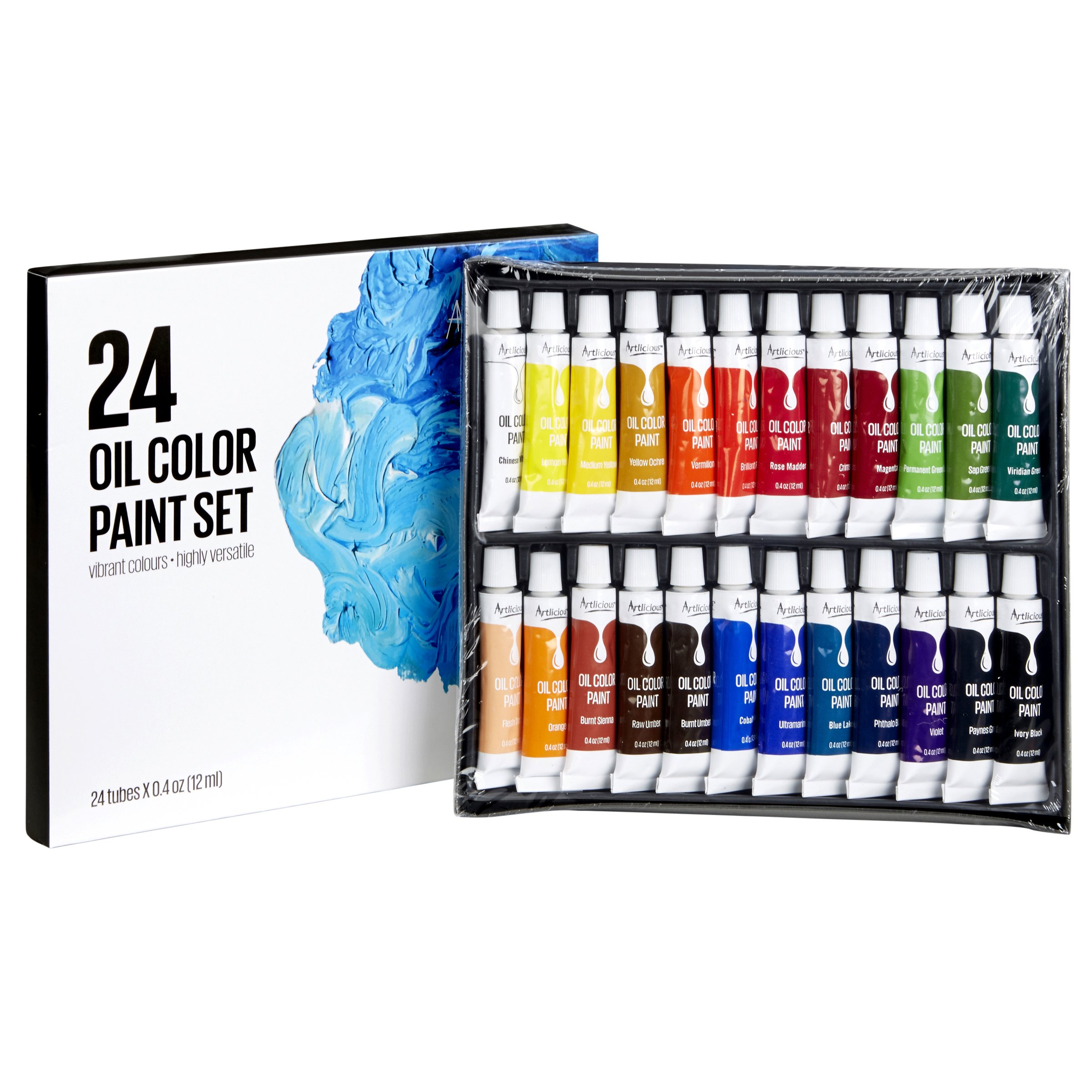 Artlicious - 24 Tube Oil Paint Set - Great for Canvas Panels, Boards & Stretched Canvas by Artlicious