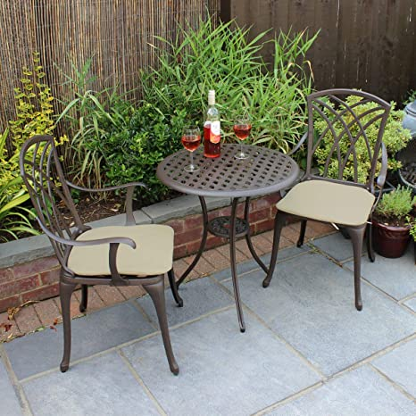 Tavoli Da Giardino In Alluminio Amazon.Bentley Set 3 Mobili Da Giardino 1 Tavolo E 2 Sedie Con Braccioli