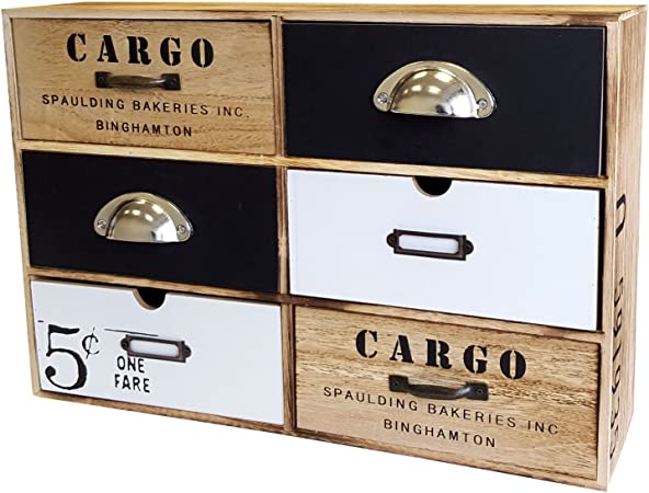 Cajón Armario con 6 cajones, MDF, Vintage, 44,5 x 30 x 12 cm/cajones Caja, Madera Mueble, cómoda Armario Armario baño Armario: Amazon.es: Hogar