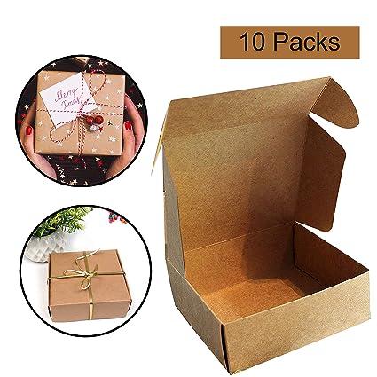 Kraft Cajas de Regalo (Pack de 10) - 13x12x5cm Kraft Marrón Cajas de Regalo Autoensamblables para Presentación Regalo, Fiestas, Bodas, Pasteles, ...