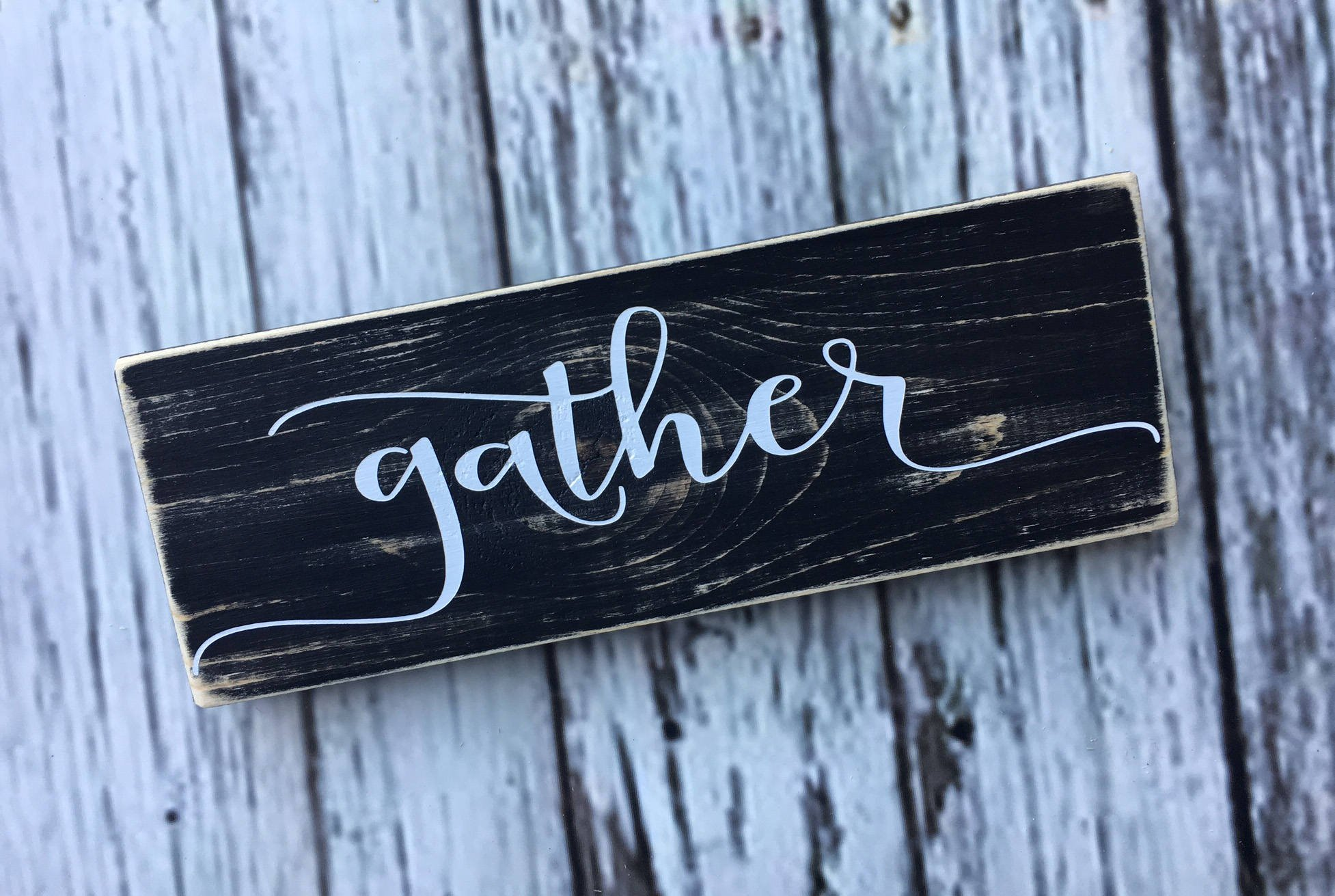 WoodenSign gather small wood sign shelf sitter everyday fall decor harvest thanksgiving fall rustic farmhouse decor 3'' tall x 10'' wide