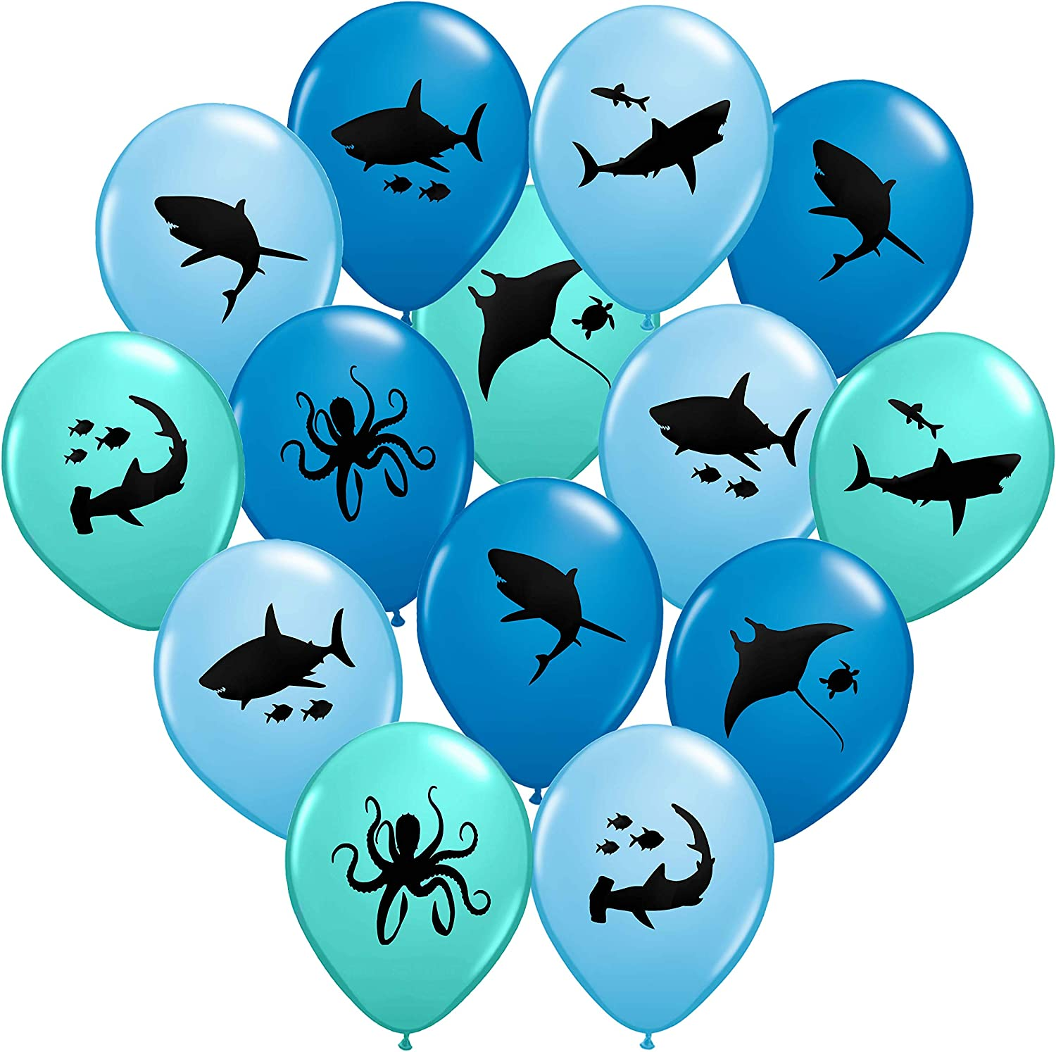 "Gypsy Jade's Shark Balloons - Great For Shark Themed Birthday Parties, Shark Week Parties or Under-The-Sea gatherings - Package of 36 - Big 12"" Latex Balloons!"