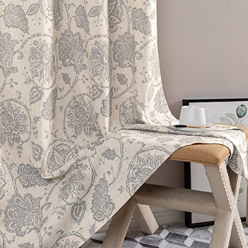 jinchan Floral Scroll Printed Linen Curtains, Grommet Top – Ikat Flax Textured Medallion Design Retro Living Room Window Curtains Grey, 108 , Set of 2