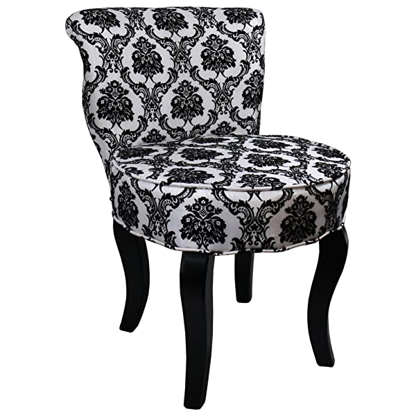 ORE International HB4284 31-Inchfrench Damask Armless Accent Chair, Black/White, 31