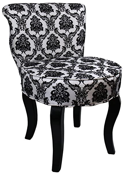 Good ORE International HB4284 31 Inchfrench Damask Armless Accent Chair, Black/ White, 31u0026quot