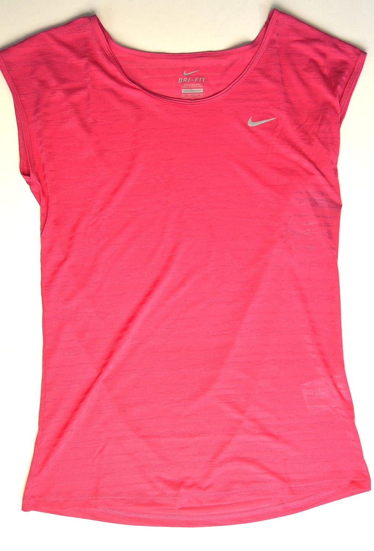 NikeレディースDri - Fit Touch Breeze実行ストライプRunning TシャツXSピンク   B01N3VAJV3