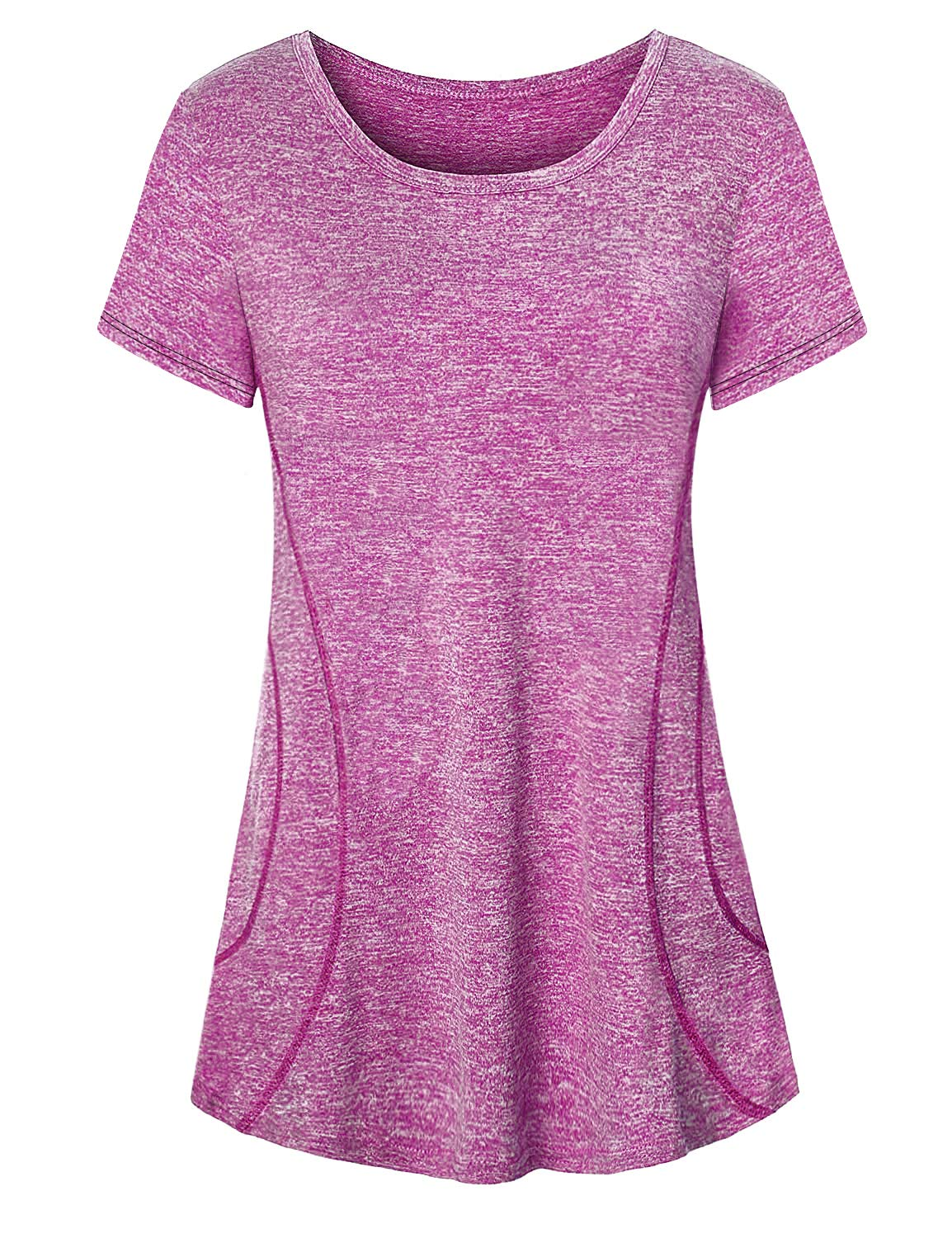 Luranee Jersey Shirts for Women, Soft Elegant Tee Breezy Decent Short Sleeve Flattering Tunic for Leggings Scoop Neck Attractive Tops Lounging Jogging Walking Everyday Activewear Purple Large by Luranee