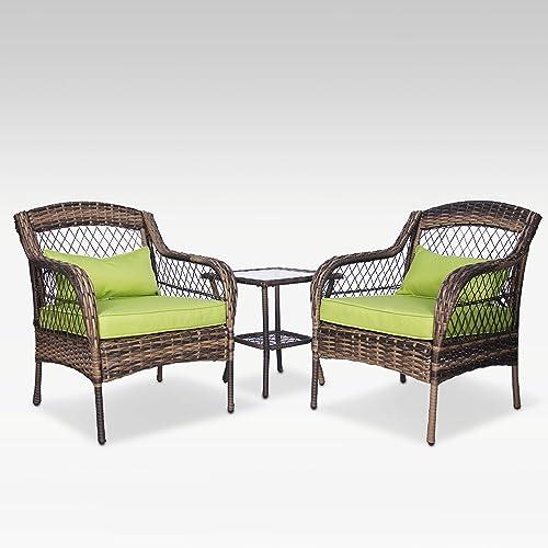 FUNKOCO 3 Pieces Patio PE Rattan Conversation Chair Set