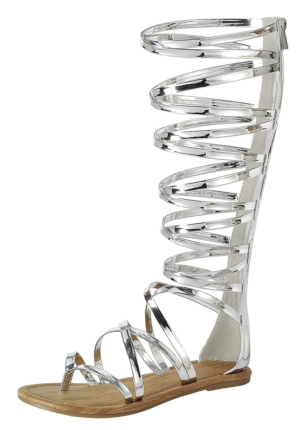 Women's Silver Gladiator Open Crisscross Strappy Knee-High Flat Sandals - DeluxeAdultCostumes.com