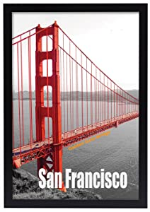 Frametory, 13x19 Pre-Assembled Black Poster Frame - Golden Gate Bridge Gallery Edition
