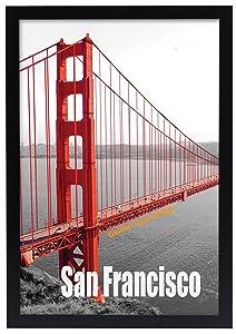 Frametory, 13x19 Pre-Assembled Black Poster Frame - Golden Gate Bridge Gallery Edition
