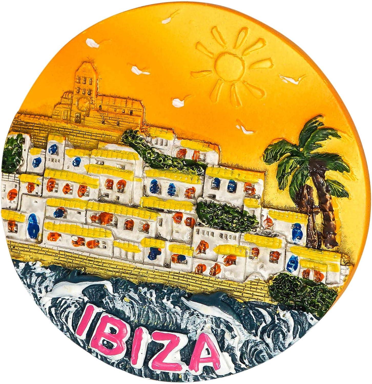 Ibiza Souvenir de Espa/ña Im/án de Nevera Imanes para Refrigerador 3D Resina Decoraci/ón del Hogar y la Cocina Regalo de Recuerdo de Viaje zamonji Dalt Vila