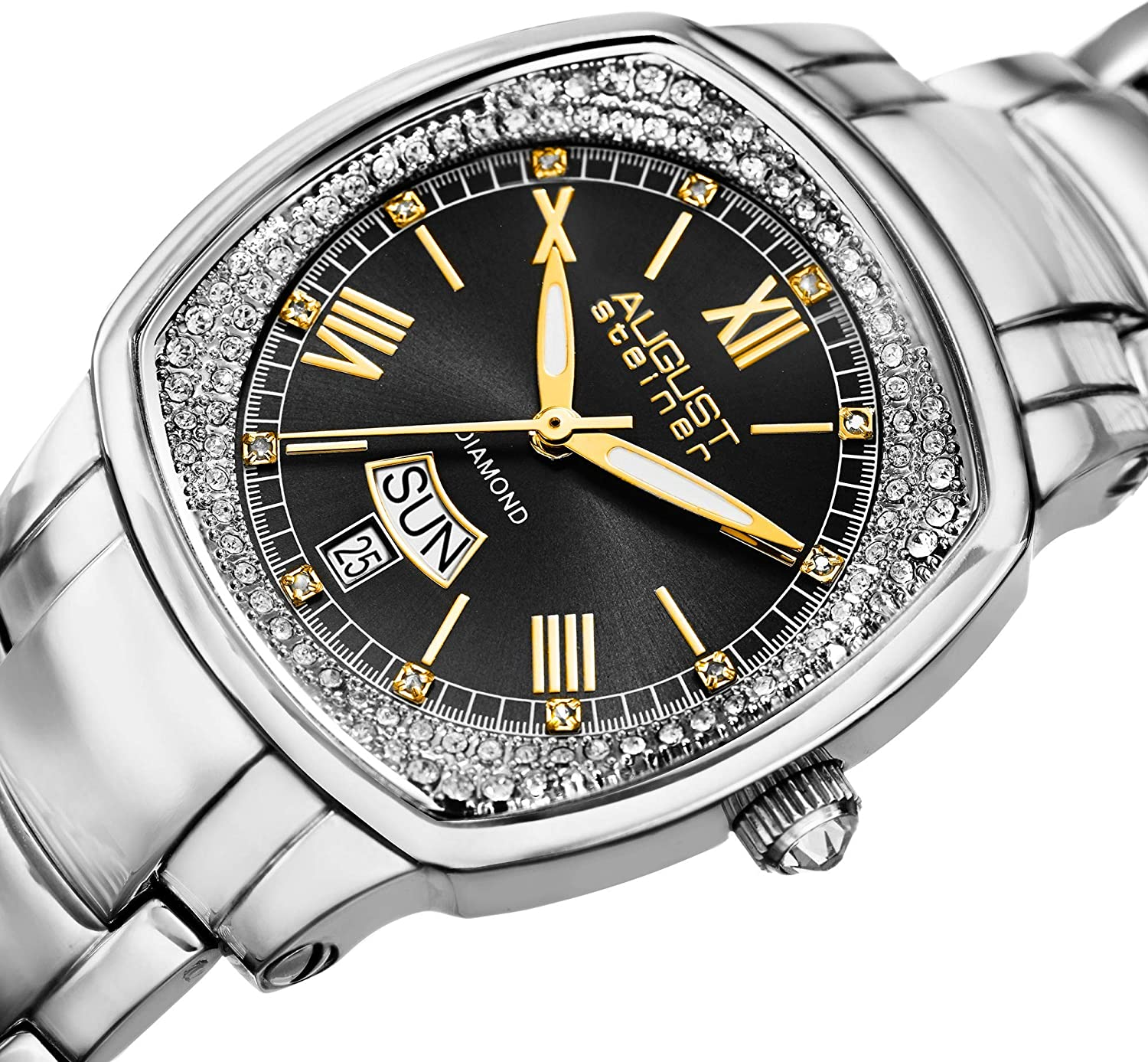 August Steiner Diamond Women's Watch - Radiant Sunburst Dial with Day and Date Window with Diamond Hour Markers On Stainless Steel Bracelet - AS8193 Black Dial Silver Band