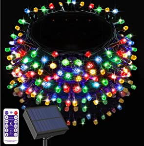 Ucutely Solar String Lights Outdoor, 108 Ft 300 LED Solar Christmas Lights with Remote, 8 Modes Waterproof Patio Lights for Christmas Tree Patio Yard Garden Party Decor