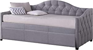 Hillsdale Furniture Jamie Tufted Daybed with Trundle, Gray