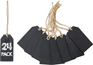 Chalkboard Tags - 24-Piece Hanging Wooden Mini Chalkboard Signs, Ideal Price Tags, DIY Kids Crafts, Decorative Labels, Message Tags, 1.69 x 3.46 Inches