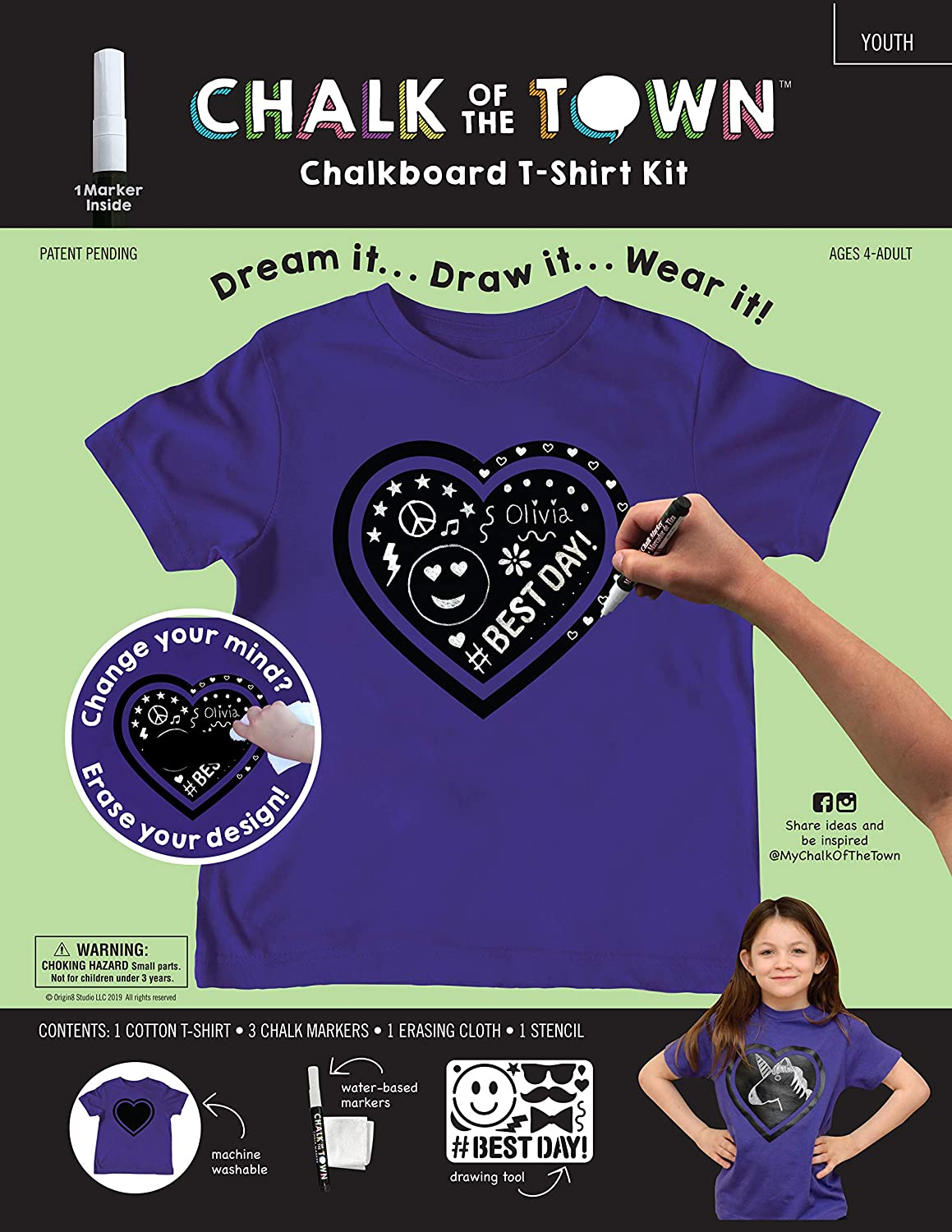Chalk of the Town Chalkboard T-Shirt Kit for Kids Short Sleeve Purple Heart with 1 Chalk Marker and Stencil Youth Extra-Small