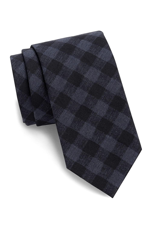 Boss Hugo Boss Check Italian Crafted Slim Tie, Dark Blue 50299912