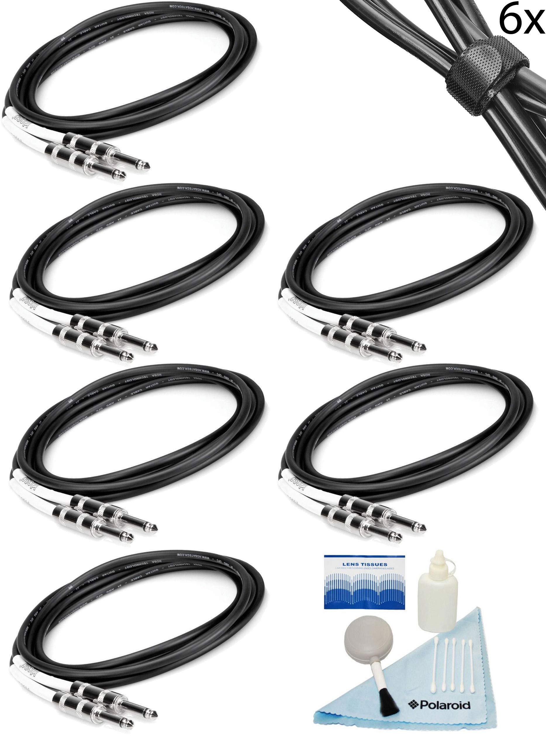 Hosa 6 Pack 20' Performance Instrument Cables 1/4 Straight-to-Straight for Electric Guitar, Bass Guitar, Electric Mandolin, Keyboard, Pro Audio, Headphones, Microphone w/Bonus Fastening Cable Ties