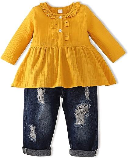 ملابس ملابس لطيف طفل فتاة زهري طويل الأكمام الرضع ممزق جينز مجموعة زهرة كشكش الأعلى