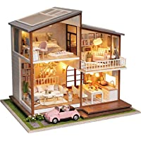 Cute Room DIY Miniature Dollhouse Kit with Furniture,Wooden Doll House Plus Music Movement & LED Lights & Pink Car, 1:24…