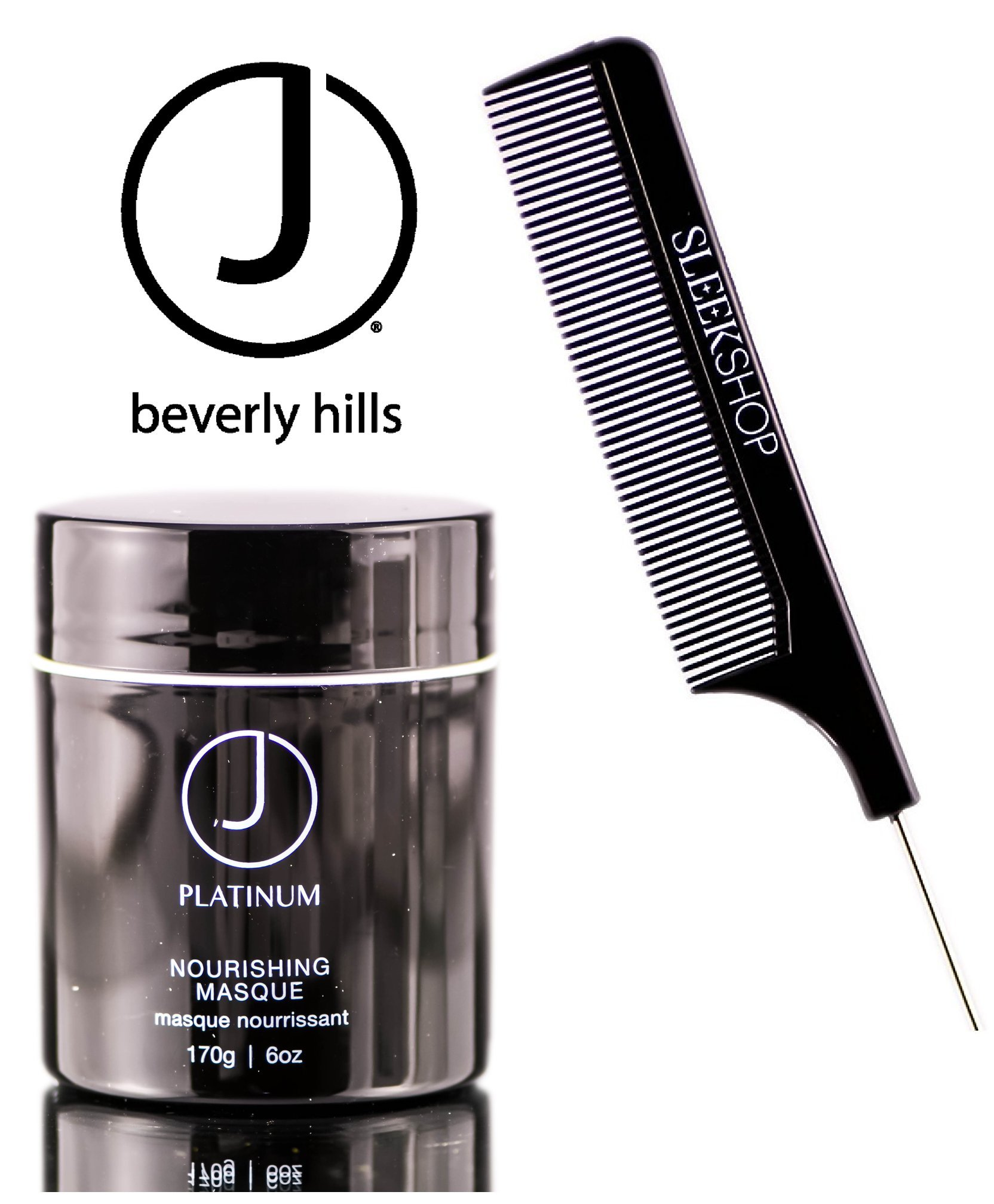 J Beverly Hills Platinum Nourishing Masque (with Sleek Steel Pin Tail Comb) (6 oz / 170 g - retail size) by J Beverly Hills