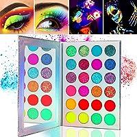Kalolary Neon Luminous Eyeshadow Palette, 24-kleuren hooggepigmenteerd make-uppalet voor oogschaduw, UV Glow Blacklight…