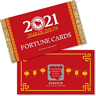 product image for Big Dot of Happiness Chinese New Year - 2021 Year of The Ox Party Scratch Off Fortune Cards - 22 Count