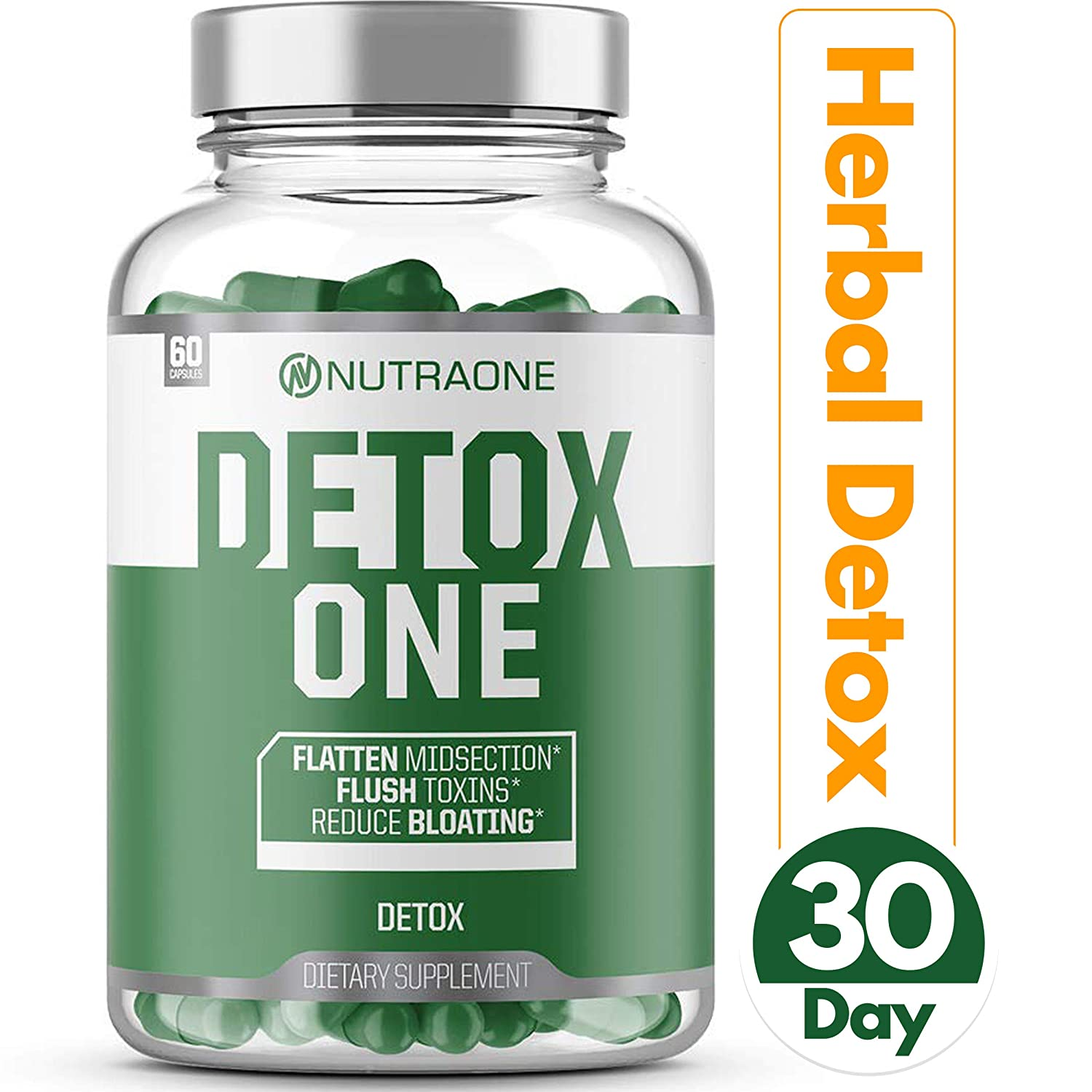 DetoxOne Natural Detox Support Supplement by NutraOne Plant-Based Herbal Blend of Superfoods that Includes Milk Thistle, Flaxseed, Psyllium Husk, Senna Leaf Gallbladder, Liver Digestive Support*