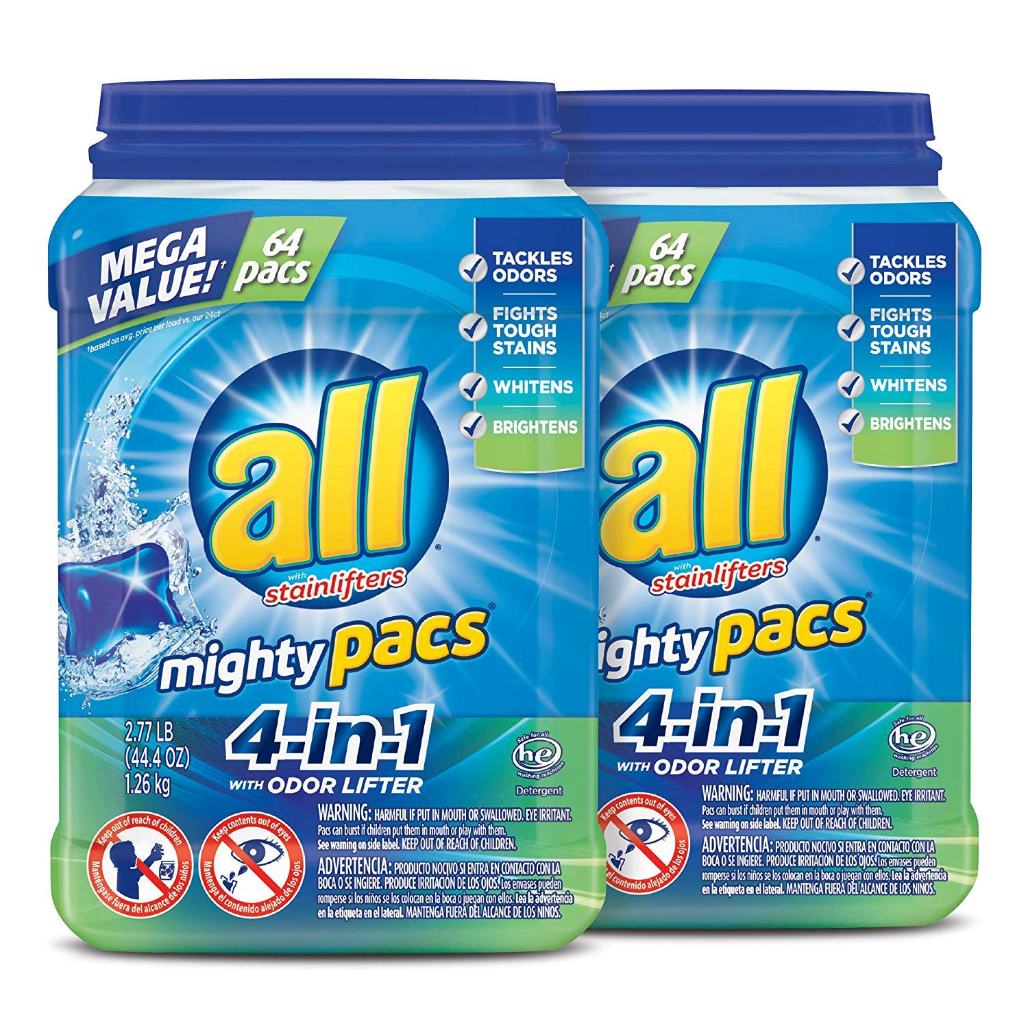 Amazon.com: All Mighty Pacs Detergente para la colada, 4 en ...