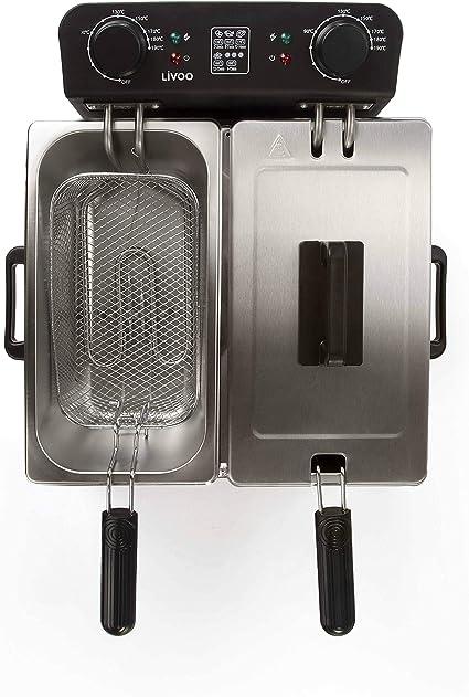 Livoo DOC217 - Freidora eléctrica doble de acero inoxidable | 2 recipientes extraíbles | gran capacidad 1,6 kg de patatas | Termostato regulable 190 ...