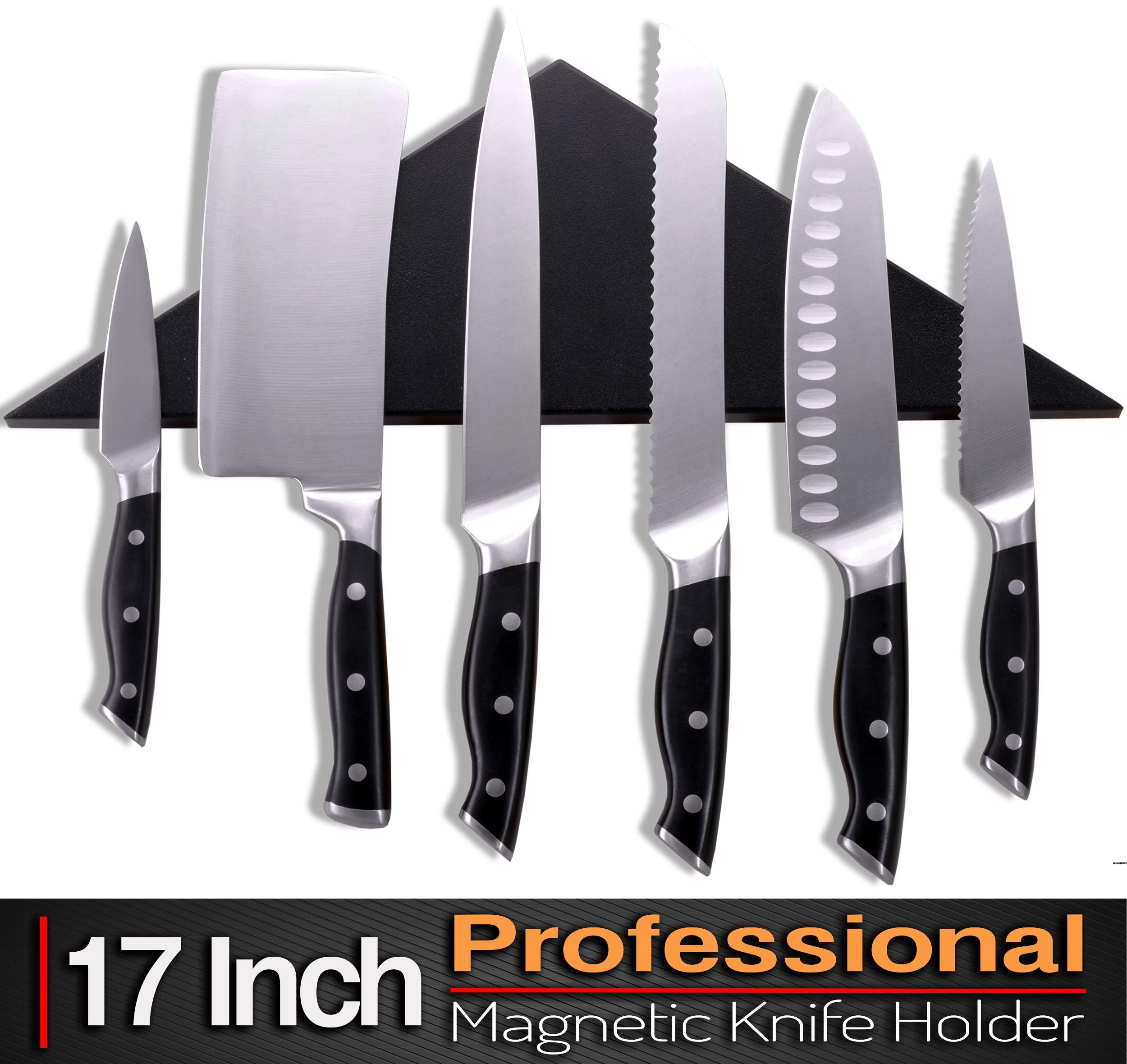 Agadda Premium Designer Stainless Steel Magnetic Knife Holder - Professional Magnetic Knife Strip/Knife Bar/Knife Rack - 17 inch (Black)