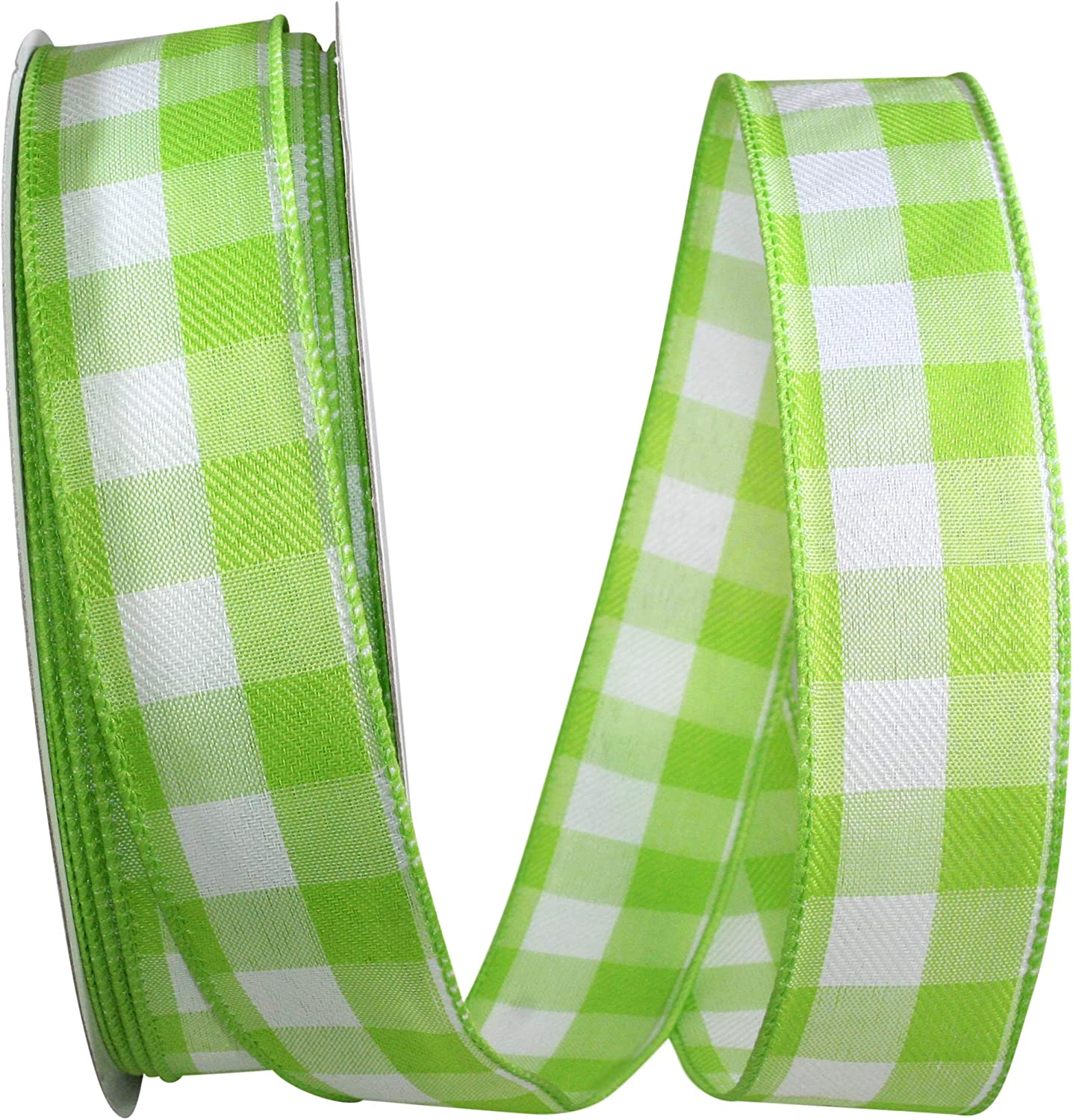 Reliant Ribbon Celine Plaid Twill Wired Edge Ribbon, 1-1/2 Inch X 50 Yards, Lime