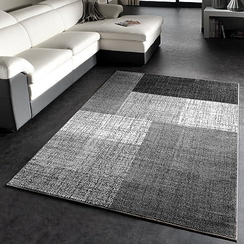 Designer Teppich Modern Kariert Kurzflor Design Meliert In Grau