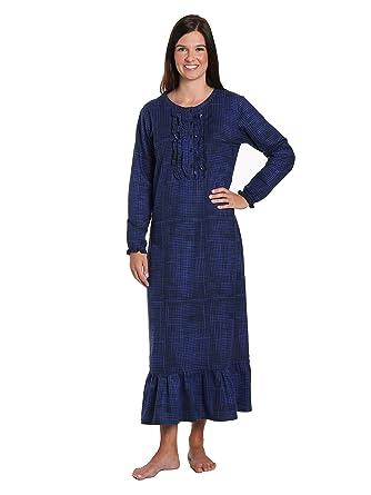 3193626175 Noble Mount Women s Premium Flannel Long Gown - Jutelicious Blue - Small