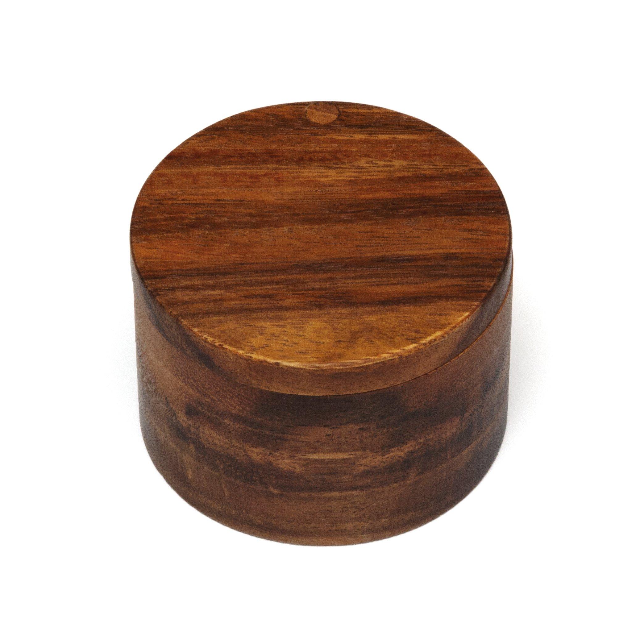 "Lipper International 1126 Acacia Wood Salt or Spice Box with Swivel Cover, 3-1/2"" x 2-1/2"""