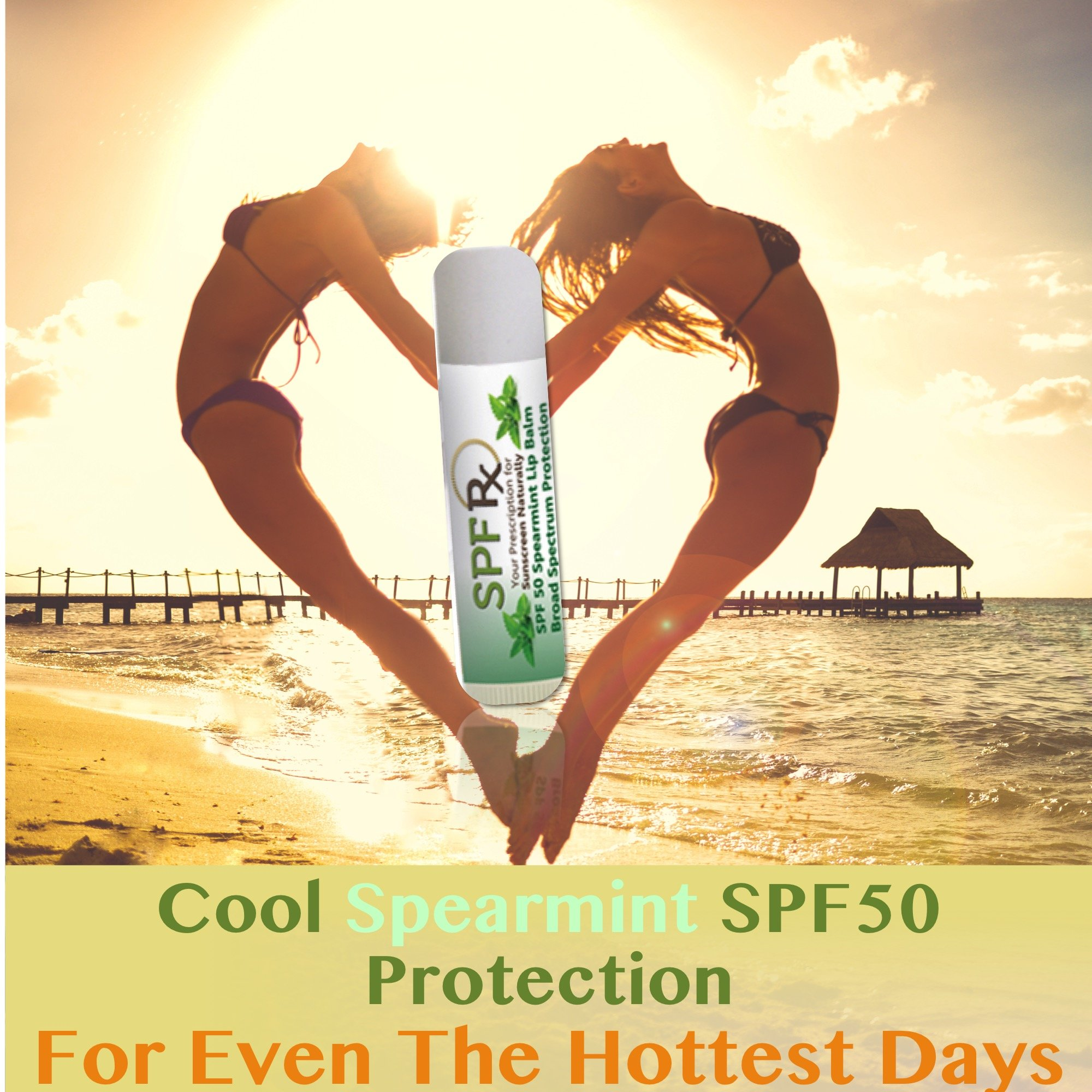 SPF 50 Spearmint Flavor Lip Balm 48 Pack - Certified Organic Protection For Both UVA & UVB Rays That Burn & Damage Your Skin & Dry Out The Lips - Zinc Based Mineral Formulation (0.15 Oz - 48 Pack)