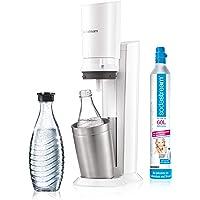SodaStream CRYSTAL 2.0 Glass Carafe Bubbler pour Eau du Robinet avec Bouteille en Verre allant au Lave-Vaisselle pour Eau Gazeuse, inclus 1 cylindre et 1 carafe en verre, 0,6l , Blanc, 22 x 11 x 42 cm