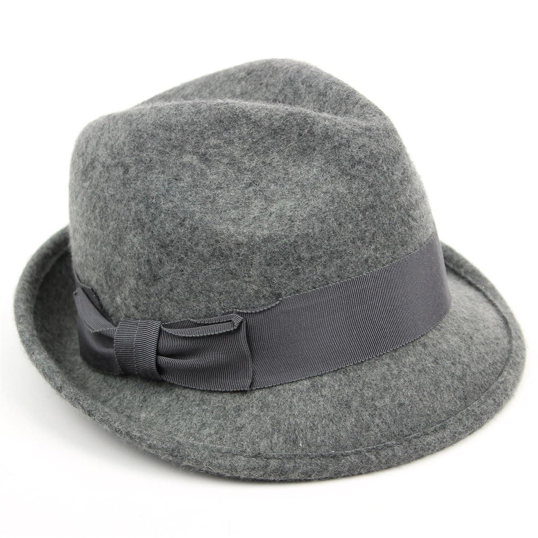 cba9758e7d5 Hawkins Wool trilby hat grey wide dark grey band side bow soft felt   Amazon.co.uk  Clothing