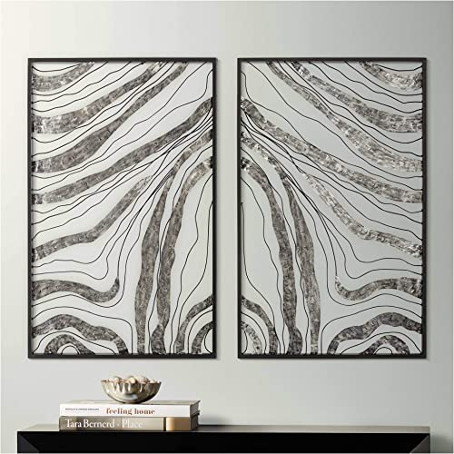 Newhill Designs Striped Symmetry 32″ High Metal Wall Art Set of 2