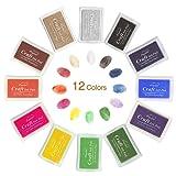 MTURE Stempelkissen, Stamp Pad Fingerdruck fuer Papier Handwerk Stoff, Fingerabdruck ,Scrapbook, Malerei, 12 Farben,Mehrfarbige