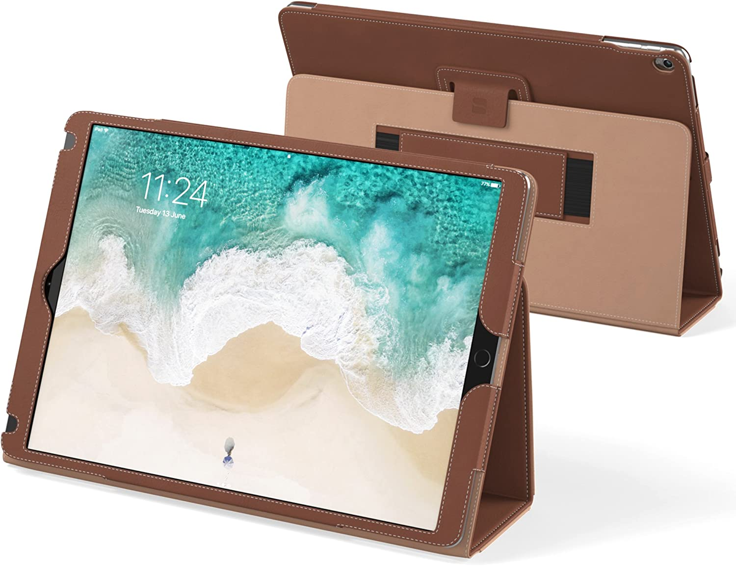 "Snugg iPad Air 3 (2019) / iPad 10.2"" (8th & 7th Gen) / iPad Pro 10.5"" Leather Case, Flip Stand Protective Cover - Distressed Brown"