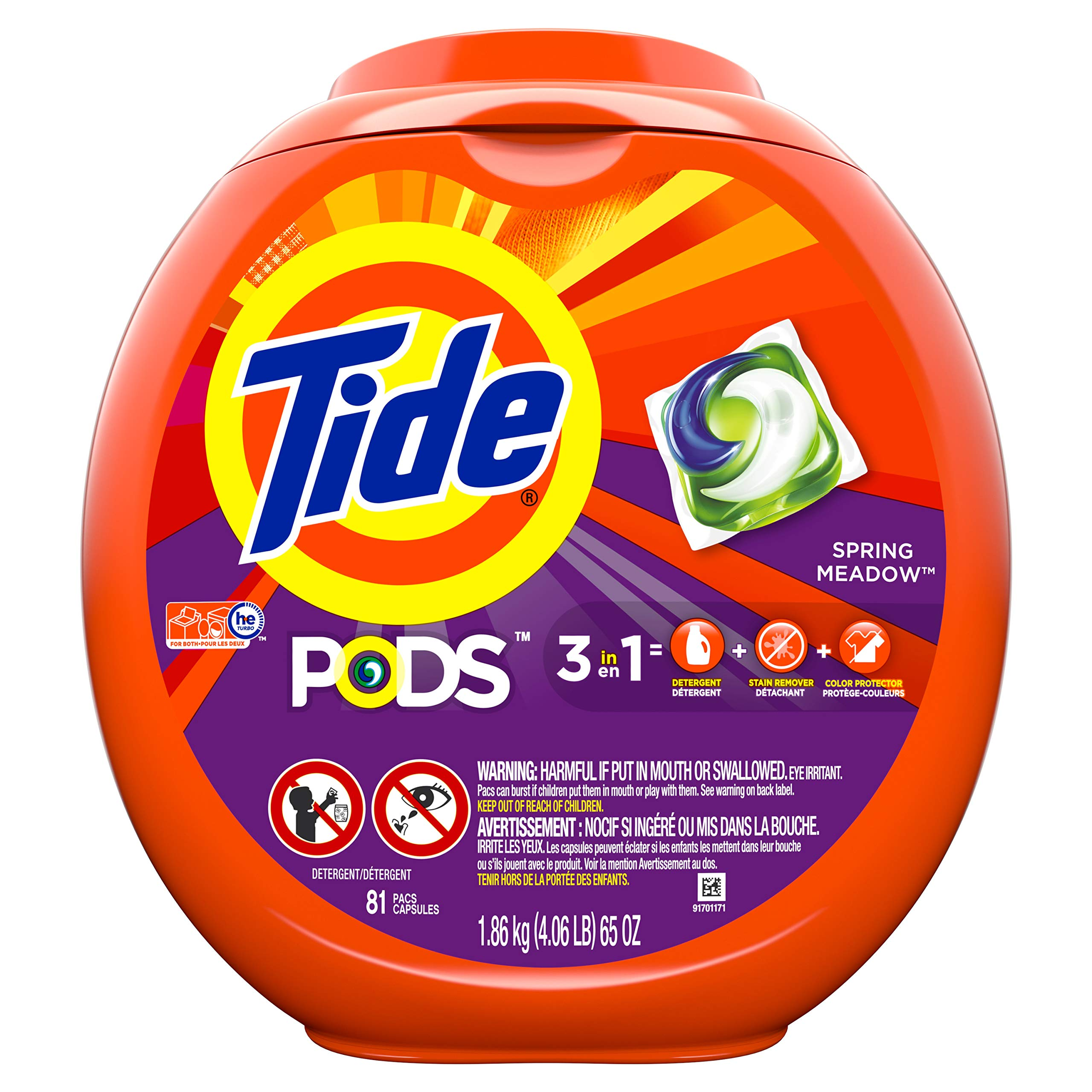 Tide PODS 3 in 1 HE Turbo Laundry Detergent Pacs, Spring Meadow Scent, 81