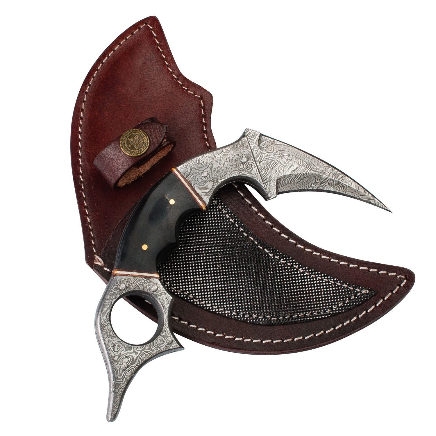 Dragon's Claw Damascus Steel Karambit with Damascus Steel Safety Ring and Custom Leather Sheath
