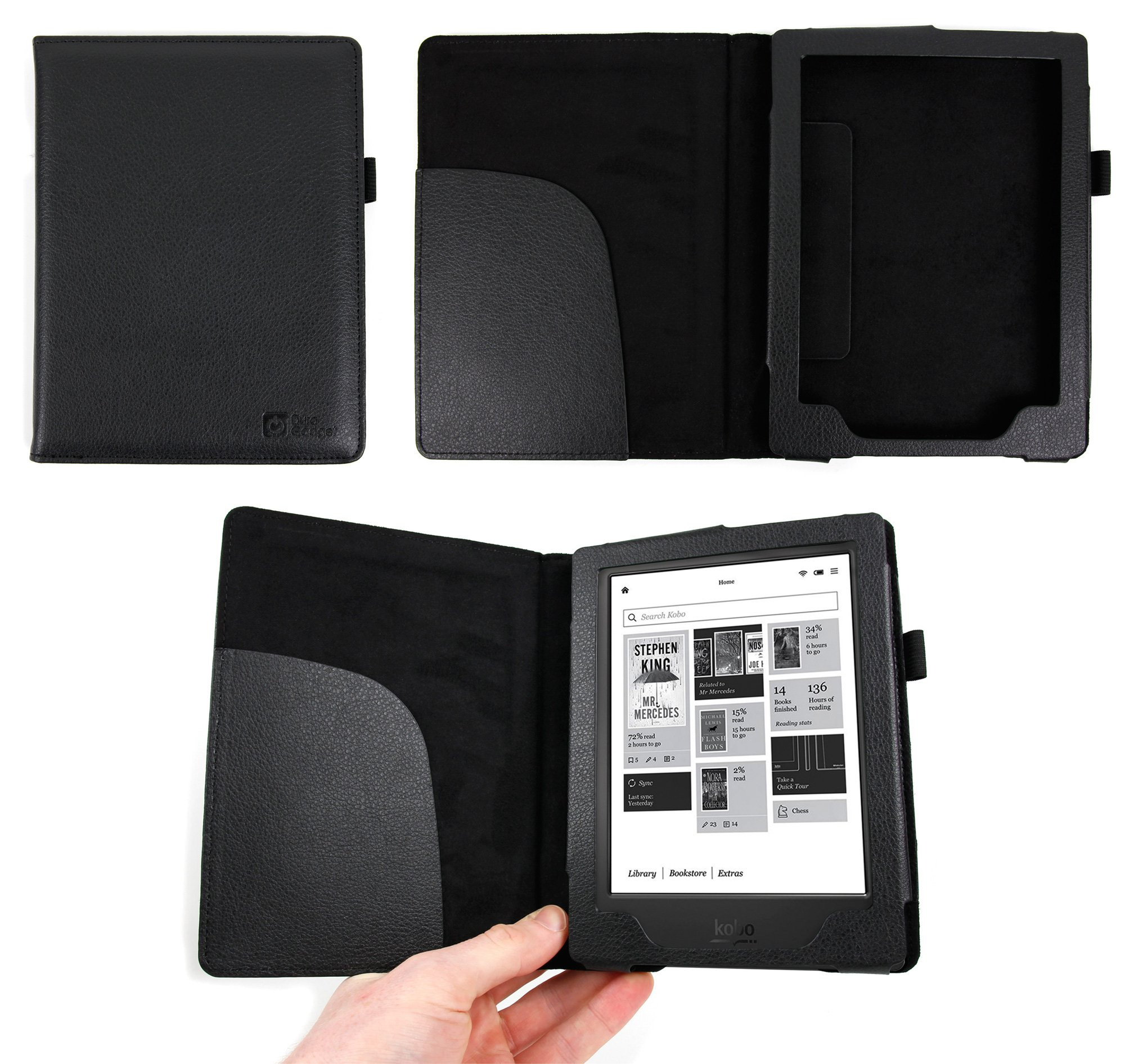 DURAGADGET Kobo Aura H20 eReader Case - Deluxe Book-Style Cover in Black for the Kobo Aura H20 (4GB, WiFi, IP67, 265 DPI, 1 GHz, ComfortLight, Carta E Ink HD)
